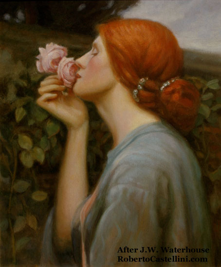 [oil painting copy of 'Soul of the Rose' originally by Waterhouse by Roberto Castellini]