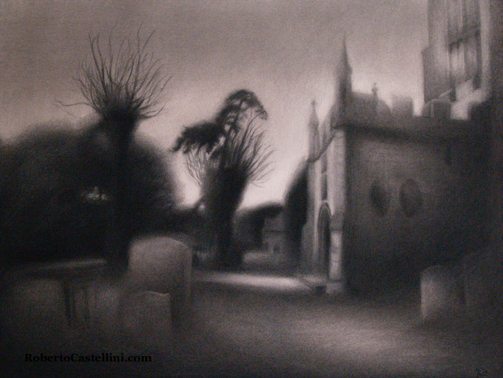 [charcoal landscape Chipping Campden an evening by Roberto Castellini]