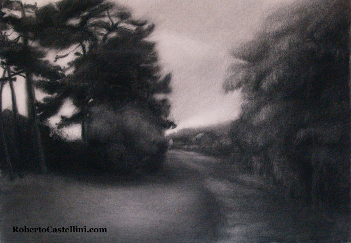 [charcoal drawing silent path england by Roberto Castellini]