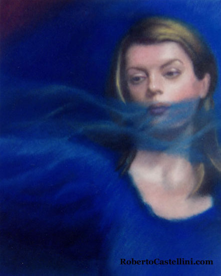 [pastel painting woman with veil in blue by Roberto Castellini]