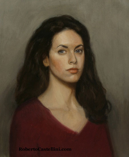 [portrait painting life-size oil by Roberto Castellini]