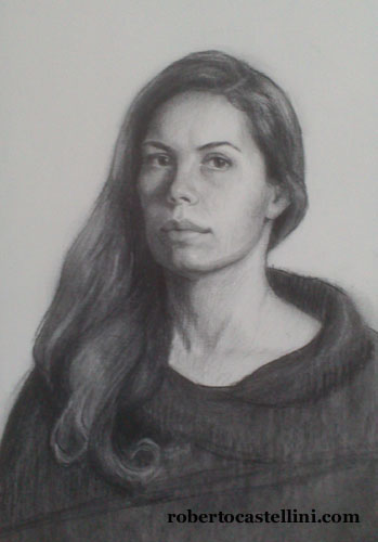 [charcoal drawing portraits by Roberto Castellini]