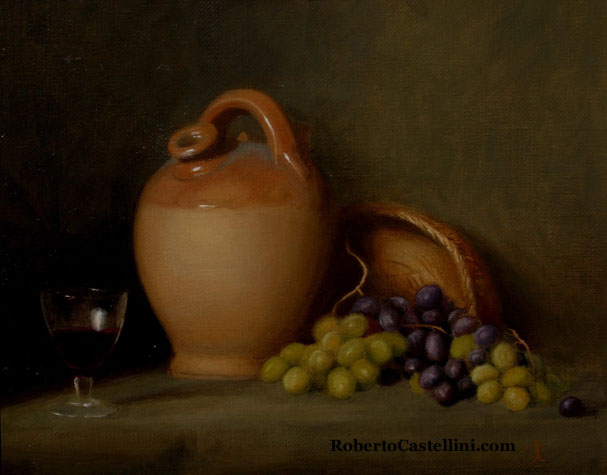 [still life oil painting by Roberto Castellini]
